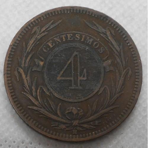 URUGUAY 4 Centesimos 1869H