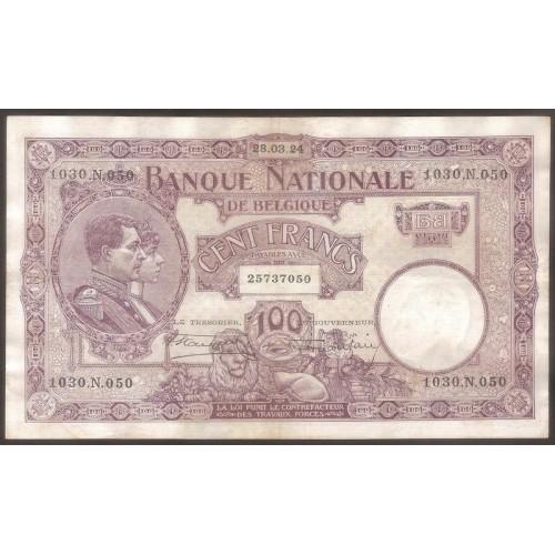 BELGIUM 100 Francs 1924