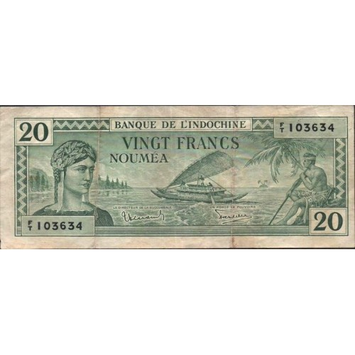 NEW CALEDONIA 20 Francs 1944