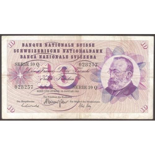 SWITZERLAND 10 Franken 1969