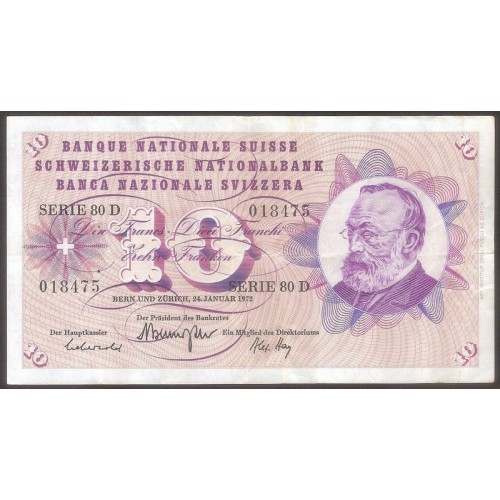SWITZERLAND 10 Franken 1972