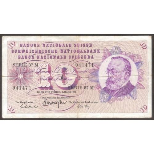 SWITZERLAND 10 Franken 1973
