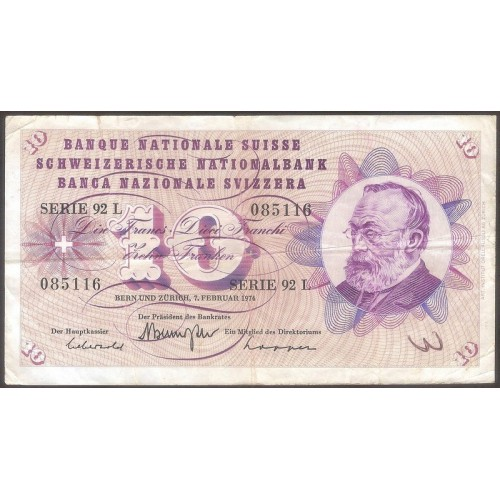SWITZERLAND 10 Franken 1974