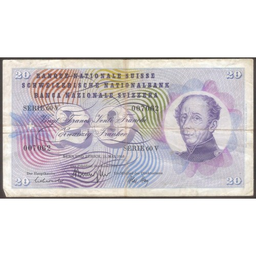 SWITZERLAND 20 Franken 1968