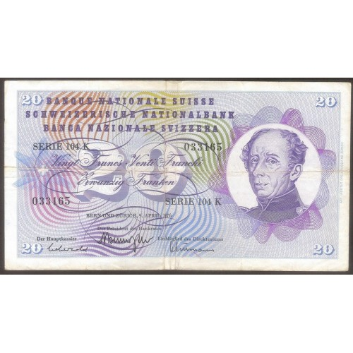 SWITZERLAND 20 Franken 1976