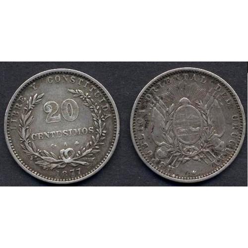 URUGUAY 20 Centesimos 1877 AG
