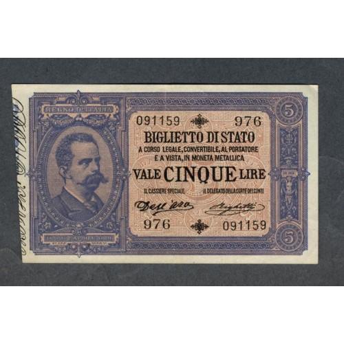 5 Lire 1892 Doppia Effice...