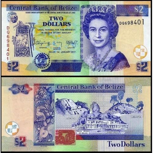BELIZE 2 Dollars 2017