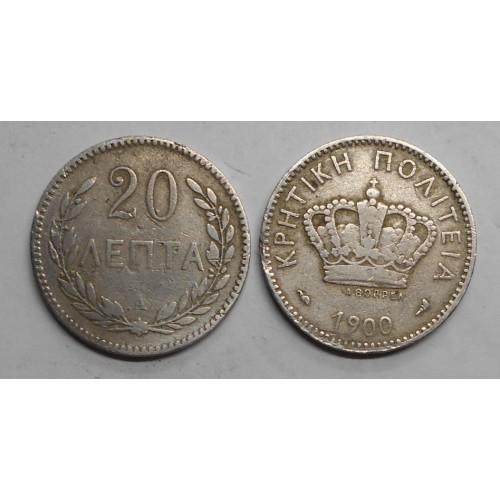 CRETE 20 Lepta 1900