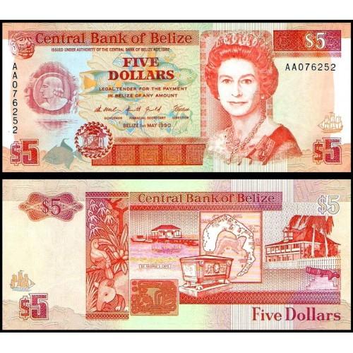 BELIZE 5 Dollars 1990