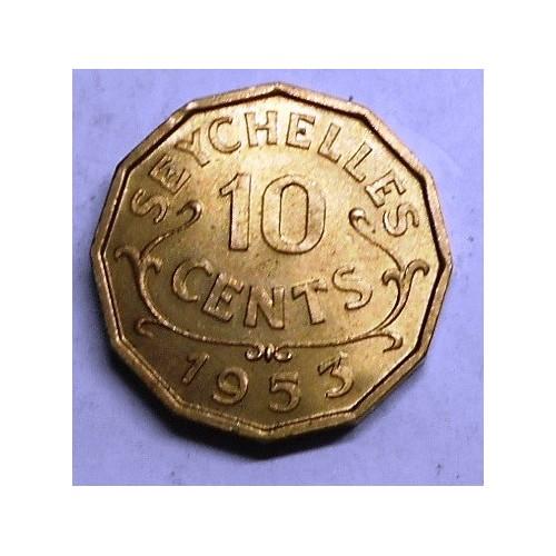 SEYCHELLES 10 Cents 1953