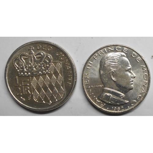MONACO 1/2 Franc 1982...