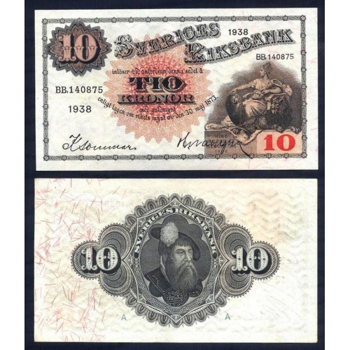 SWEDEN 10 Kronor 1938