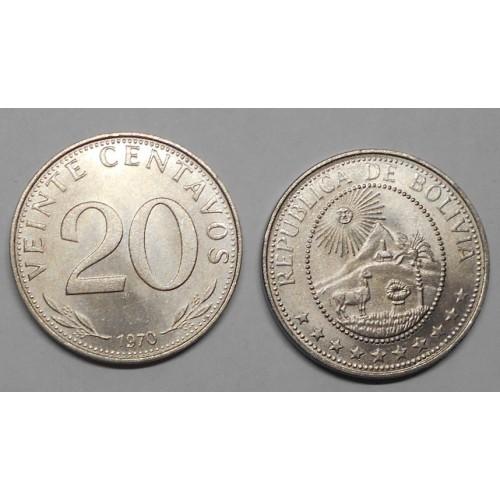 BOLIVIA 20 Centavos 1970