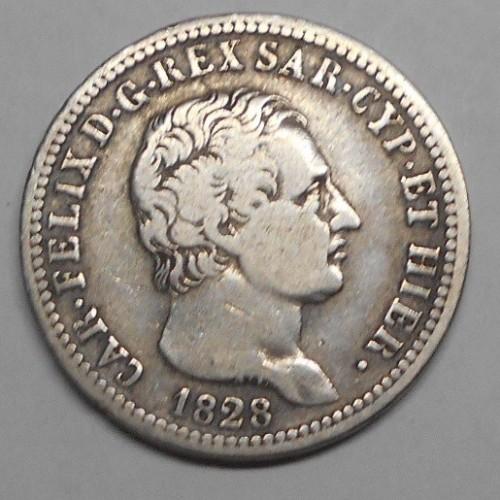 CARLO FELICE 1 LIRA AG 1828 T