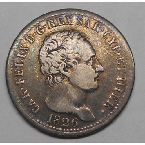 CARLO FELICE 1 LIRA AG 1826 T