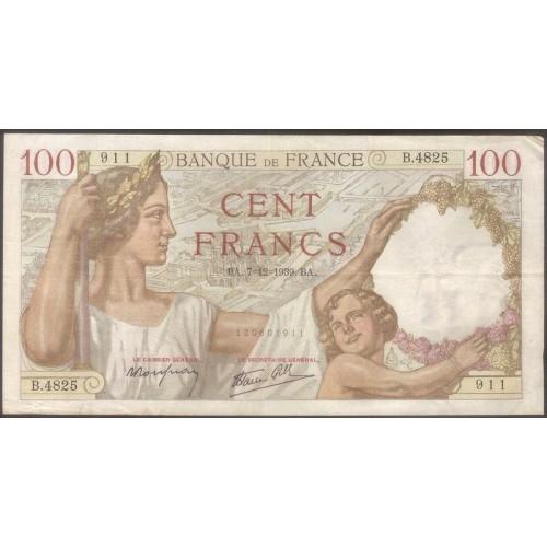 FRANCE 100 Francs 07.12.1939