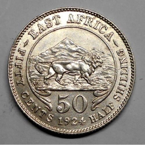 EAST AFRICA 50 Cents 1924 AG