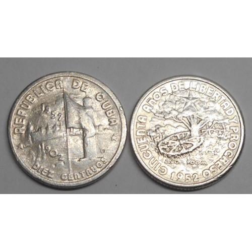 CUBA 10 Centavos 1952 50th...
