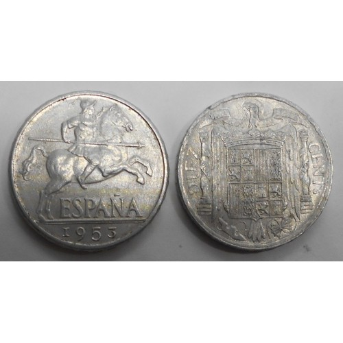 SPAIN 10 Centimos 1953