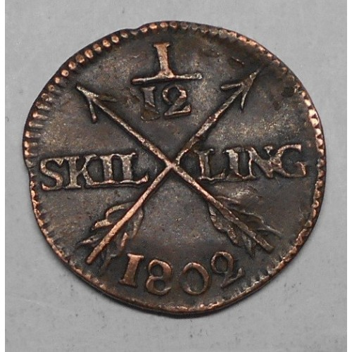 SWEDEN 1/12 Skilling 1802