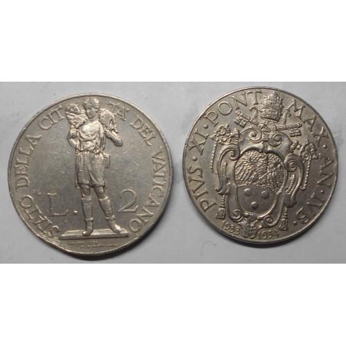 VATICANO Pio XI 2 Lire 1933/34