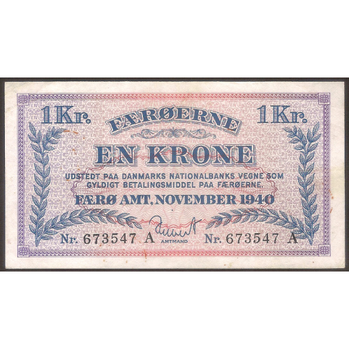 FAEROE ISLANDS 1 Krone 1940