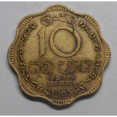 CEYLON 10 Cents 1965