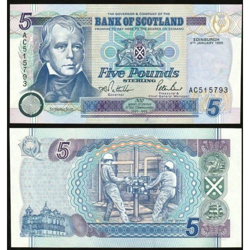 SCOTLAND 5 Pounds 1995...