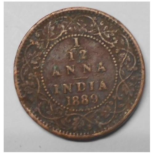 BRITISH INDIA 1/12 Anna 1889c