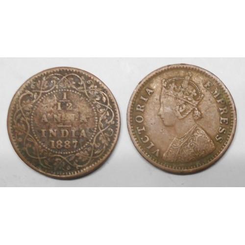BRITISH INDIA 1/12 Anna 1887c