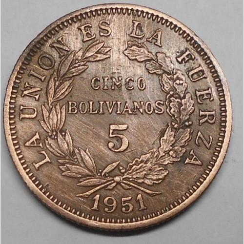 BOLIVIA 5 Bolivianos 1951 KN