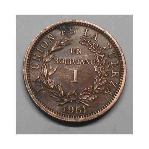 BOLIVIA 1 Boliviano 1951