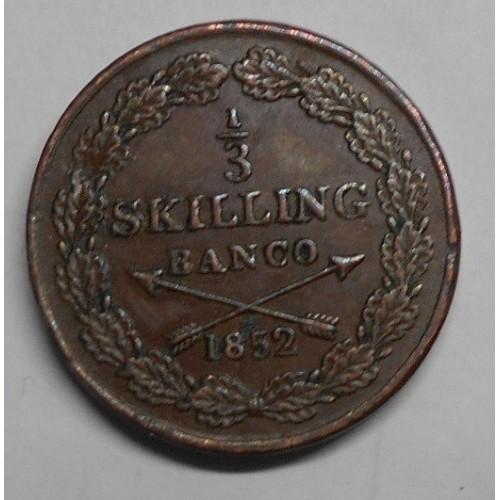 SWEDEN 1/3 Skilling 1852