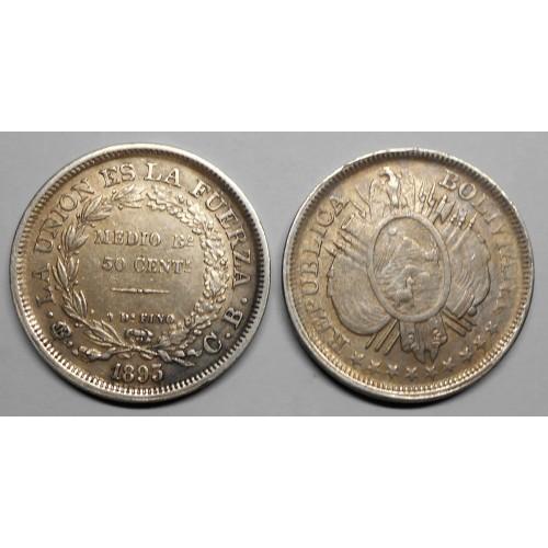 BOLIVIA 50 Centavos 1893...