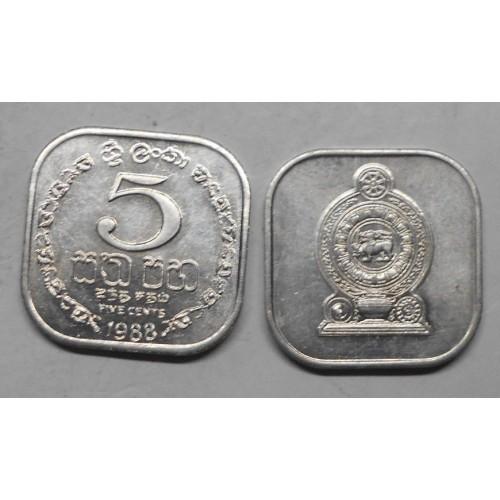 SRI LANKA 5 Cents 1988