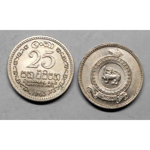 CEYLON 25 Cents 1963