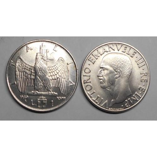 1 LIRA 1939 XVIII A.M.