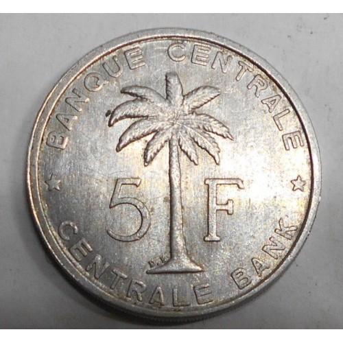 BELGIAN CONGO 5 Francs 1959