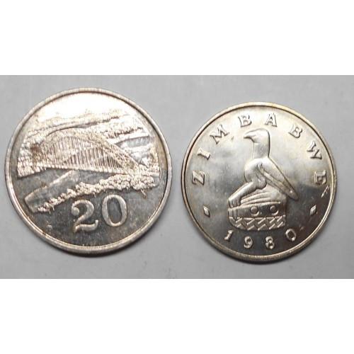 ZIMBABWE 20 Cents 1980