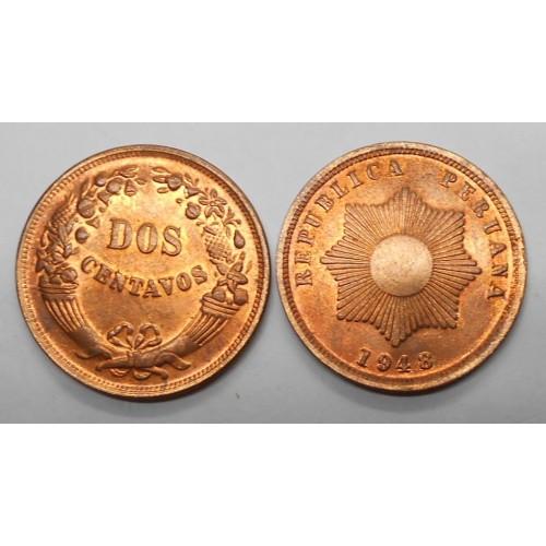 PERU 2 Centavos 1948