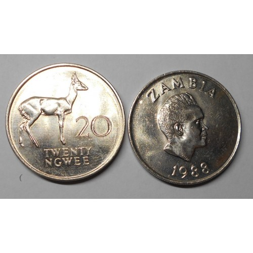 Zambia 20 Ngwee 1988 K.D....