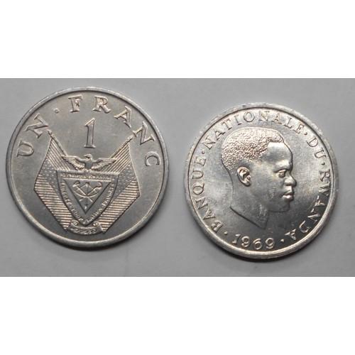 RWANDA 1 Franc 1969...