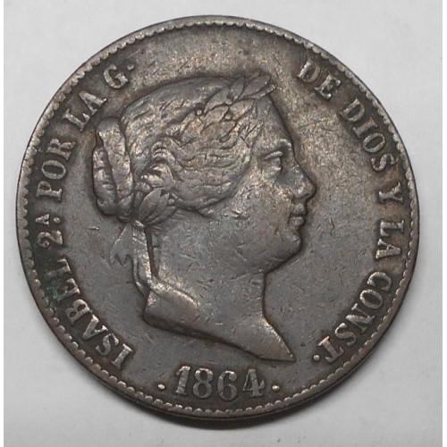SPAIN 25 Centimos 1864...