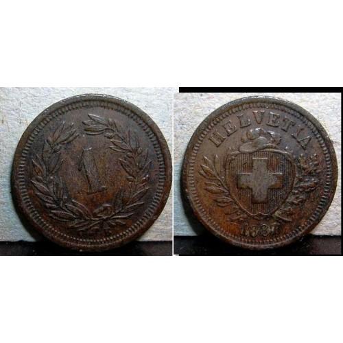 SWITZERLAND 1 Rappen 1887