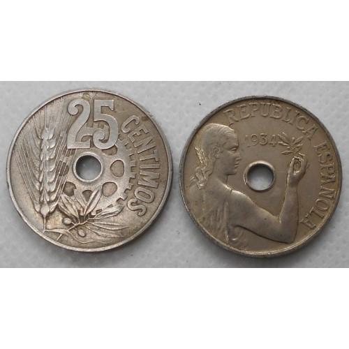 SPAIN 25 Centimos 1934