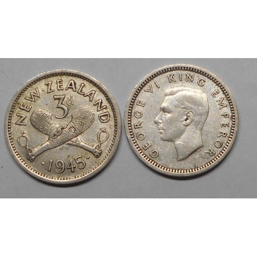 NEW ZEALAND 3 Pence 1945 AG