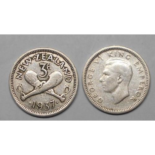 NEW ZEALAND 3 Pence 1937 AG