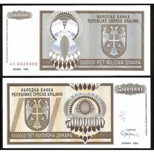 CROATIA 5.000.000 Dinara 1993