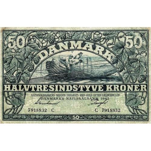 DENMARK 50 Kroner 1942